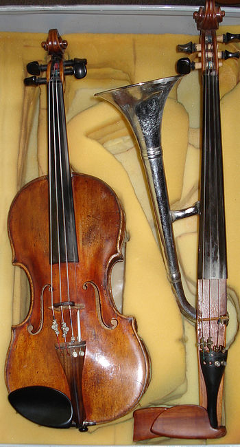 English: Hornviolin (trumpet-violin)together w...