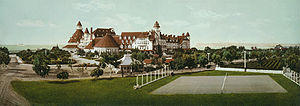 Hotel del Coronado - Restored photochrom print of Hotel del Coronado by William Henry Jackson, c. 1900