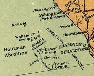 Zeewijk - A 1916 map of the Houtman Abrolhos, showing the Zeewyk Channel between the Easter Group and the Pelsaert Group