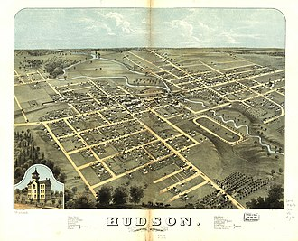 Hudson, Michigan - Panoramic map of Hudson from 1868 with an image of Union School inset and a listing of area sites