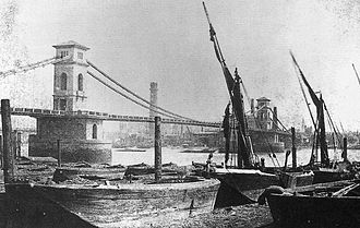 Hungerford Bridge and Golden Jubilee Bridges - The Hungerford Suspension bridge, designed by Isambard Kingdom Brunel