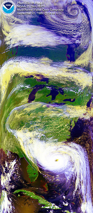 Meteorology - Satellite image of Hurricane Hugo with a polar low visible at the top of the image.
