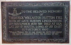 Frederick Wollaston Hutton - Plaque to Hutton in ChristChurch Cathedral
