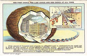 Huyler's - Huyler's factory in a Coconut, from a 1909 advertisement