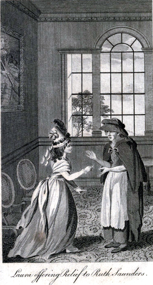 Elizabeth Pinchard - Miss Laura Mildmay gives money to a poor widow who has come to beg help from her mother. From Dramatic Dialogues, 1792
