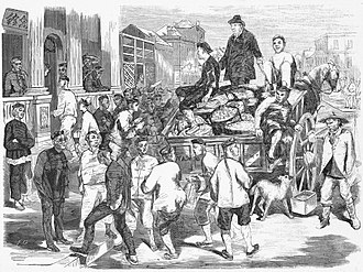 Chinese Australians - Chinese immigrants arriving in Chinatown, Melbourne, 1866