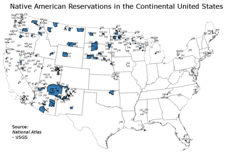 Reservation lands in the contiguous United States as of 2019 Indian reservations in the Continental United States.png