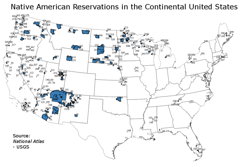 Indian Reservations in the Continental United States Indian reservations in the Continental United States.png