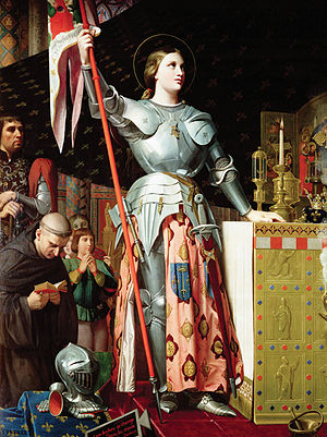 Joan of Arc - Joan at the coronation of Charles VII, by Jean Auguste Dominique Ingres in 1854, a famous painting often reproduced in works on Joan of Arc.