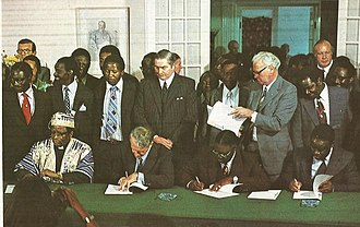 Rhodesia - Signing the Rhodesian Internal Settlement (from left: Bishop Abel Muzorewa, Ian Smith, Jeremiah Chirau and Ndabaningi Sithole)
