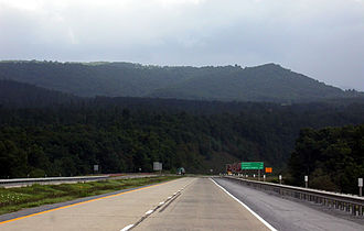 Interstate 64 in West Virginia - Interstate 64 at Sandstone Mountain in Raleigh County. This is a 7% grade.