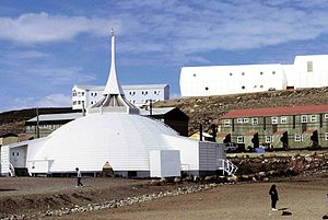 St. Jude's Cathedral (Iqaluit) - The Old St. Jude's (seen here in 1995) before the 2005 fire.