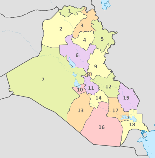 Iraq, administrative divisions - Nmbrs - colored.svg