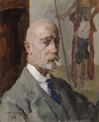 Isaac Israëls - Isaac Israëls - Self-portrait with a painting of the Javanese prince Jodjana, oil on canvas, 1919