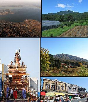 Ishioka, Ibaraki - Upper: Lake Kasumigaura, Mt Tsukuba Middle: Ishioka festival, Mt Kabasan, lower: Ishioka street scene