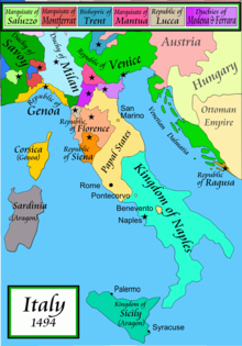 Map of Italy in the late 15th century, in Italian, showing the major powers of Florence, Milan, Naples, the Papal States and Venice, plus the more-minor powers such a Genoa, Modena–Ferrara, Mantua, Sienna and Lucca.
