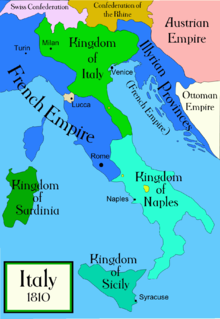 Map of Italy in 1810, showing the French Empire covering most of the western upper quarter of the peninsula, with the Illyrian Provinces, including Trieste and Dalmatia, also a French dependency, separated from the Empire-proper by the Kingdom of Italy.