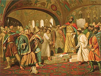 Ivan III of Russia - Ivan III tearing the khan's letter to pieces, an apocryphal 19th-century painting by Aleksey Kivshenko.