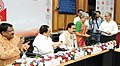 J.P. Nadda and the Union Minister for Tribal Affairs, Shri Jual Oram witnessing the signing ceremony of India's first public-private-partnership (PPP) agreement between ICMR and Sun Pharma (1).jpg