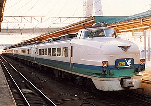 Hakuchō (train) - A 485 series EMU on a Hakuchō service at Aomori Station in 1991