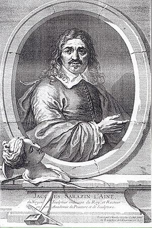 Jacques Sarazin - Portrait of Jacques Sarazin by engraver Charles-Nicolas Cochin, c. 1731.