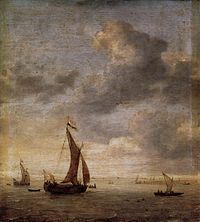 Jan Porcellis - Single-Masted Damlooper and Rowboat on a Breezy Day - WGA18156.jpg