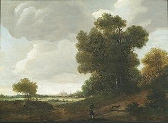Jan Wils (painter) - Landscape with Haarlem St. Bavochurch in the background, 1644