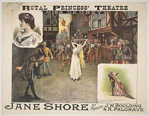 Jane Shore - Theatre poster for Jane Shore at Royal Princess' Theatre, Edinburgh, 14th December 1885