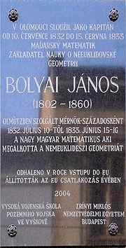 Bolyai János emléktábla Olmütz, Csehország.