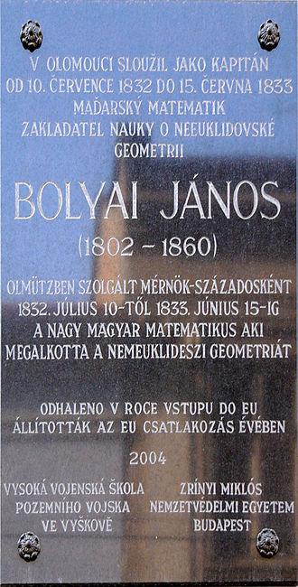 János Bolyai - Memorial plaque of János Bolyai in Olomouc, (Czech Republic)
