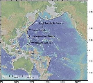 Japan Trench An oceanic trench - part of the Pacific Ring of Fire - off northeast Japan