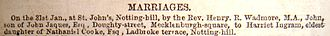 Nathaniel Cook - Marriage announcement in The Illustrated London News, 1860-Jan-31