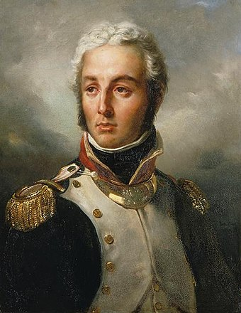 Moreau in 1792 as a lieutenant-colonel of the volunteers of Ille-et-Vilaine. Jean Victor Marie Moreau (1792).jpg