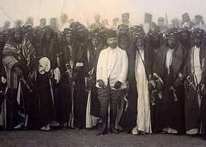 Djemal Pasha - Djemal Pasha with Iraqi tribal leaders, celebrating the completion of the al-Hindya dam on the Euphrates river near al-Hilla, south of Baghdad.