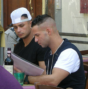"Jersey Shore (TV series) - Paul ""DJ Pauly D"" DelVecchio and Mike ""The Situation"" Sorrentino during shooting in Florence, Italy in May 2011."