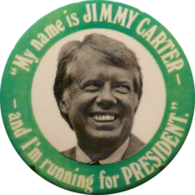 """A presidential campaign button with Carter's face on it, and """"My name is Jimmy Carter, and I'm running for President"""" written"""