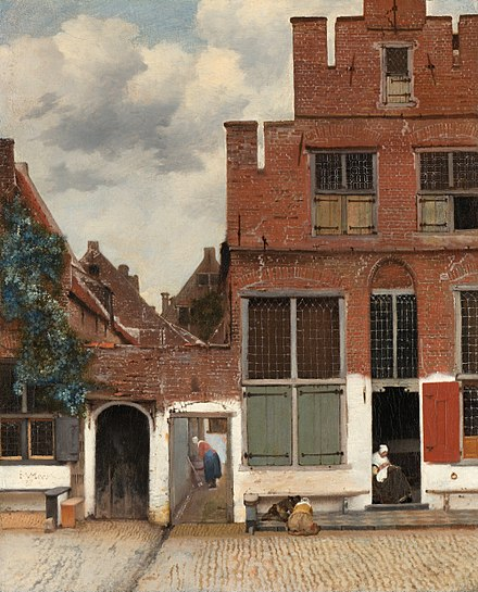 The filmmakers studied Vermeer works such as The Little Street Johannes Vermeer - Gezicht op huizen in Delft, bekend als 'Het straatje' - Google Art Project.jpg