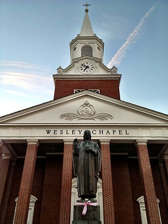 West Virginia Wesleyan College - Statue of John Wesley in front of Wesley Chapel at WV Wesleyan College