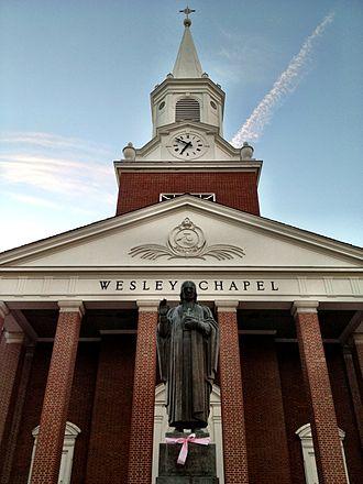 West Virginia Wesleyan College - Statue of John Wesley in front of Wesley Chapel at WV Wesleyan College