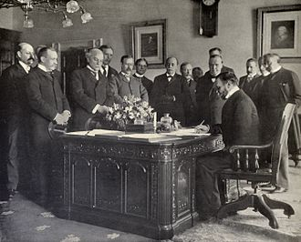 United States Military Government of the Philippine Islands -  John Hay, Secretary of State, signing the memorandum of ratification on behalf of the United States