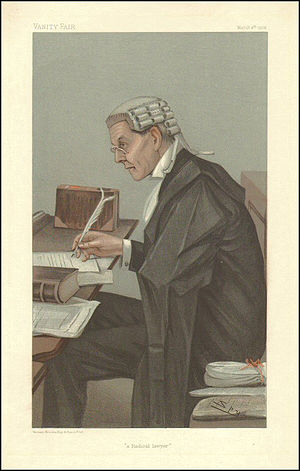 """John Lawson Walton - """"a Radical lawyer"""". Caricature by Spy published in Vanity Fair in 1902."""