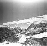 Johns Hopkins Glacier, tidewater glacier with wide moraines, hanging glaciers, aretes, and mountain glaciers, August 23, 1976 (GLACIERS 5513).jpg