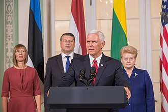 Joint press conference with the Baltic states presidents and Pence, July 31, 2017 Joint Press Conference by the Baltic presidents and the Vice President of United States (36242929826).jpg