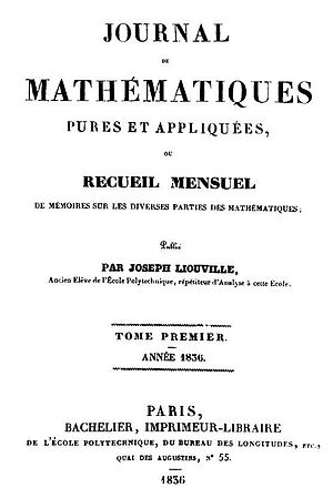 Joseph Liouville - Title page of the first volume of Journal de Mathématiques Pures et Appliquées in 1836.