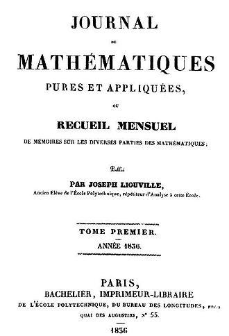Joseph Liouville - Title page of the first volume of Journal de Mathématiques Pures et Appliquées in 1836.