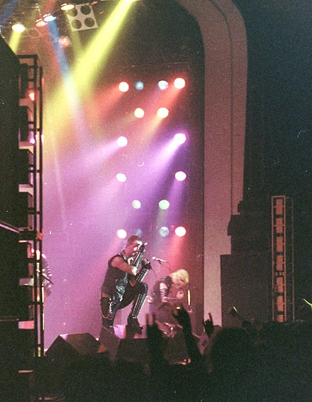 Judas Priest performing in 1981, during their World Wide Blitz Tour. Judas Priest dal viv a Cardiff in dal 1981.jpg
