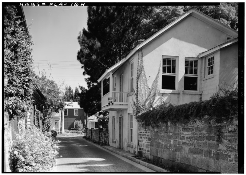 file june 1958 east front and north side elevations gaspar papy house 36 aviles street. Black Bedroom Furniture Sets. Home Design Ideas