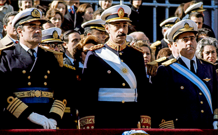 Admiral Emilio Massera, Lieutenant General Jorge Videla and Brigadier General Orlando Agosti (from left to right) - observing the Independence Day military parade on Avenida del Libertador, July 9, 1978. Junta Militar argentina 1976.png