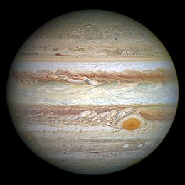 An image of Jupiter taken by the Hubble Space Telescope