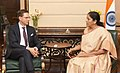 Jyrki Katainen meeting the Minister of State for Commerce & Industry (Independent Charge), Smt. Nirmala Sitharaman, in New Delhi.jpg